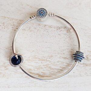 Bratara argint cu talismane Magic Blue