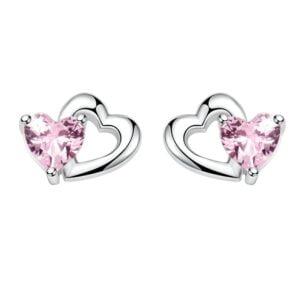 Cercei din argint Silver Double Heart