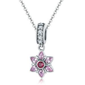 Colier din Argint Pink Flower