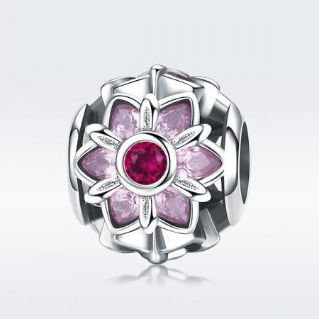 Talisman din Argint Pink Flower